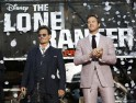"""Cast members Depp and Hammer pose at the world premiere of """"The Lone Ranger"""" in Anaheim"""