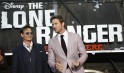 """Cast members Johnny Depp and Armie Hammer pose at the world premiere of """"The Lone Ranger"""" in Anaheim"""