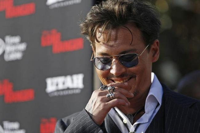 """Cast members Johnny Depp attends the world premiere of """"The Lone Ranger"""" in Anaheim"""