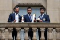 Dhawan, Dhoni and Jadeja pose with the ICC Champions Trophy