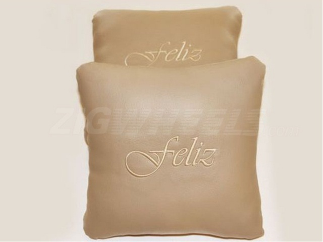 Car pillows with Feliz branding