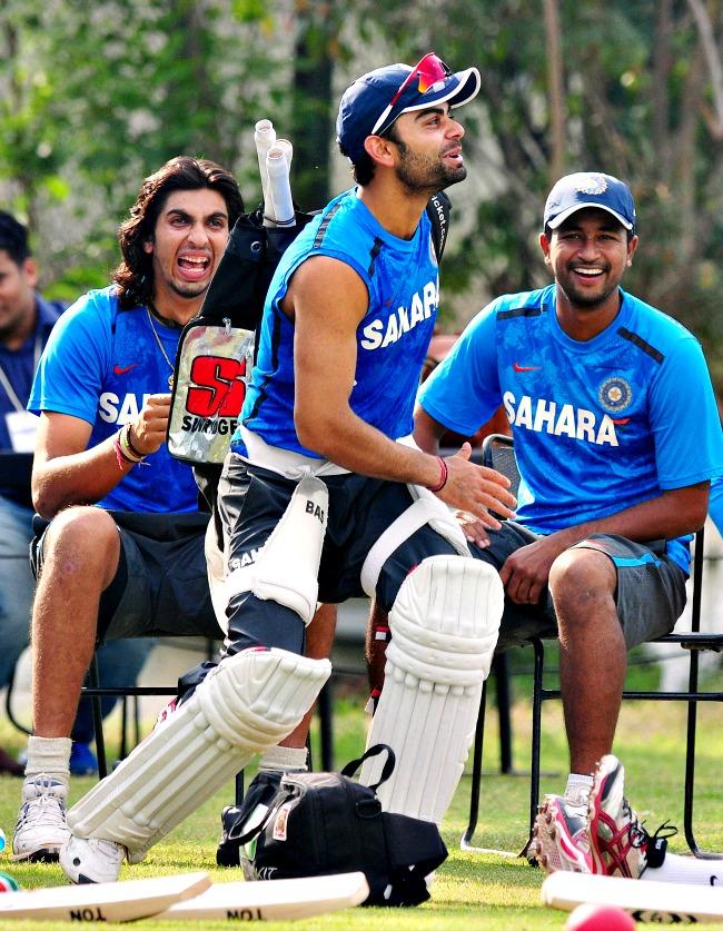 Virat Kohli, Ishant Sharma and Pragyan Ojha