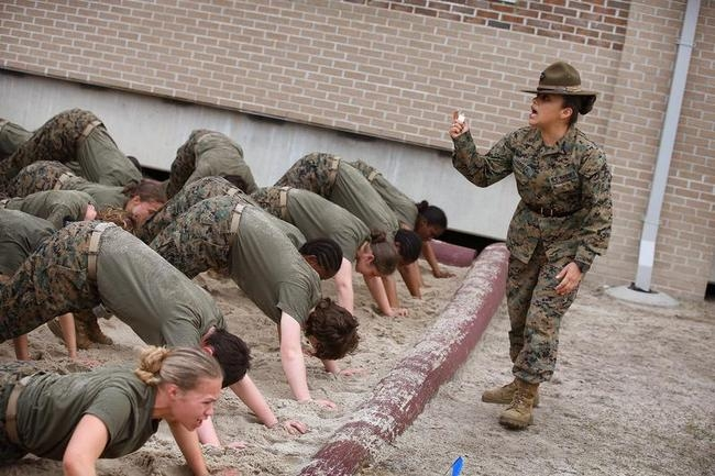 Women Attend Marine Boot Camp At Parris Island, South Carolina