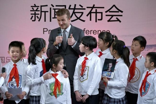 David Beckham With Young Fans