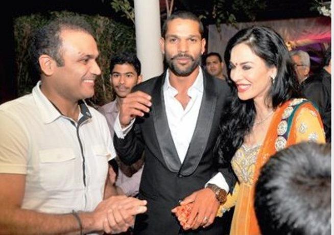 Virender Sehwag, Shikhar Dhawan and Aesha Mukherjee