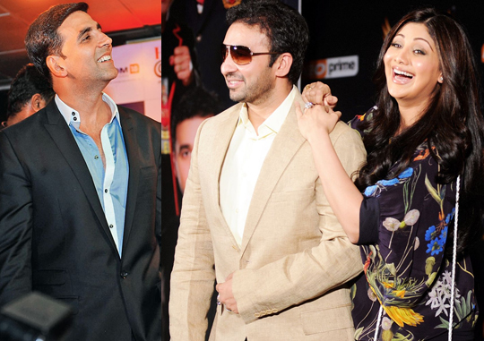 Akshay Kumar, Raj Kundra and Shilpa Shetty