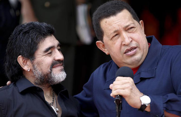 Hugo Chavez and Diego Maradona