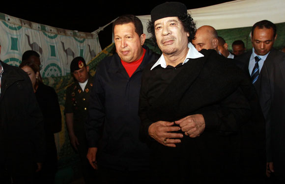 Hugo Chavez and Muammar Gaddafi