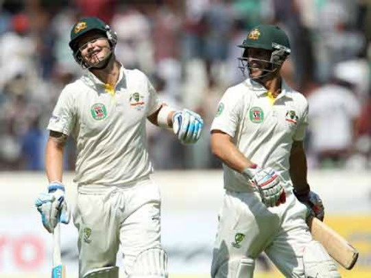 Michael Clarke and Matthew Wade during day 1