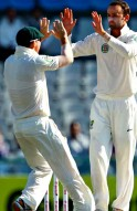Nathan Lyon celebrates the wicket of Shikhar Dhawan
