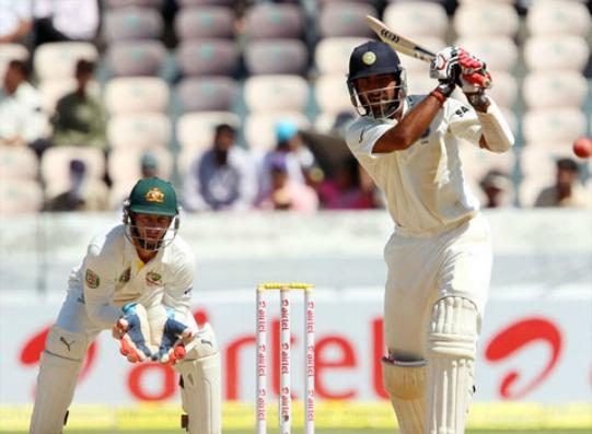 Cheteshwar Pujara plays a shot