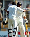 Murali Vijay celebrates his century with Sachin Tendulkar