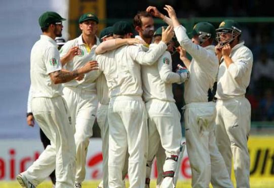 Nathan Lyon celebrates the wicket of Ajinkya Rahane