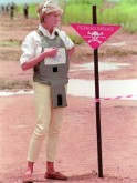 Diana visits minefield in Angola as part of her international campaign to ban landmines.