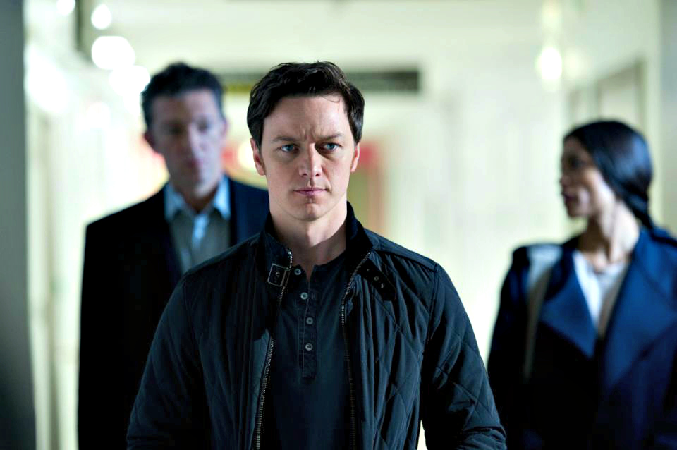Vincent Cassel, James McAvoy and Rosario Dawson in TRANCE