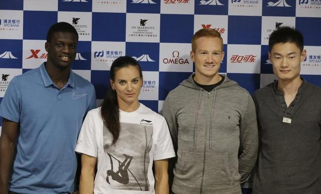Kirani James, Yelena Isinbayeva, Greg Rutherford and Zhang Peimeng