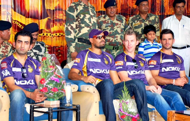 Gautam Ghambhir, Yusuf Pathan, Brett Lee and Ryan ten Doeschate