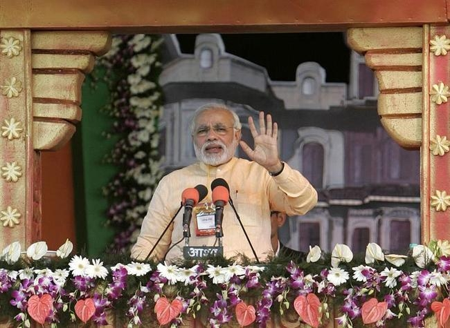 File photo of Hindu nationalist Modi addressing his party supporters during a rally in the central Indian city of Bhopal