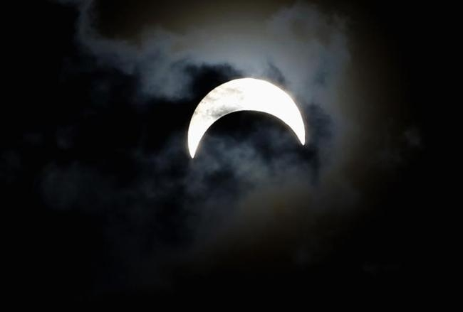 A partially eclipsed sun is seen from Juba