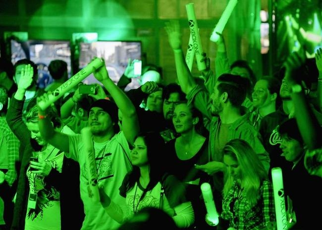 """Xbox fans listen to DJ Joel Thomas Zimmerman """" Deadmau5"""" during the Xbox One fan celebration and launch party in Los Angeles, California"""