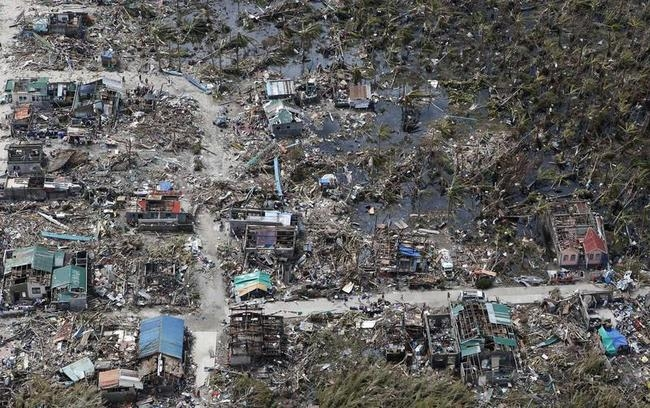 An aerial view of a town devastated by super Typhoon Haiyan in Samar province in central Philippines
