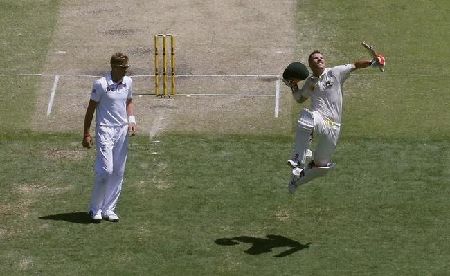 The moment when Warner gets to his ton