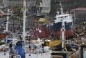 Cargo ships washed ashore are seen after super typhoon Haiyan hit Tacloban
