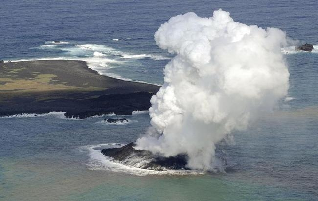 Volcanic activity occurs under the sea