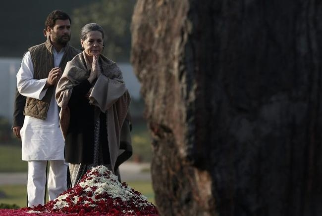 Sonia Gandhi and Rahul Gandhi pay their respects at Shakti Sthal in New Delhi