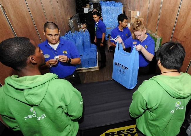 Xbox fans receive their new Xbox One after midnight during the Xbox One fan celebration and launch party in Los Angeles, California