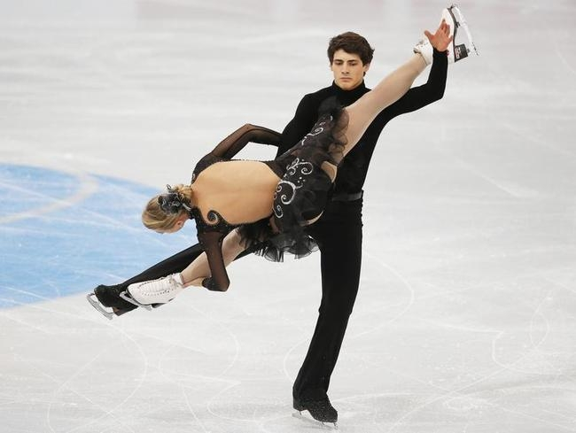 Gilles and Poirier of Canada perform during the ice dance free dance programme at the ISU Grand Prix of Figure Skating Rostelecom Cup in Moscow