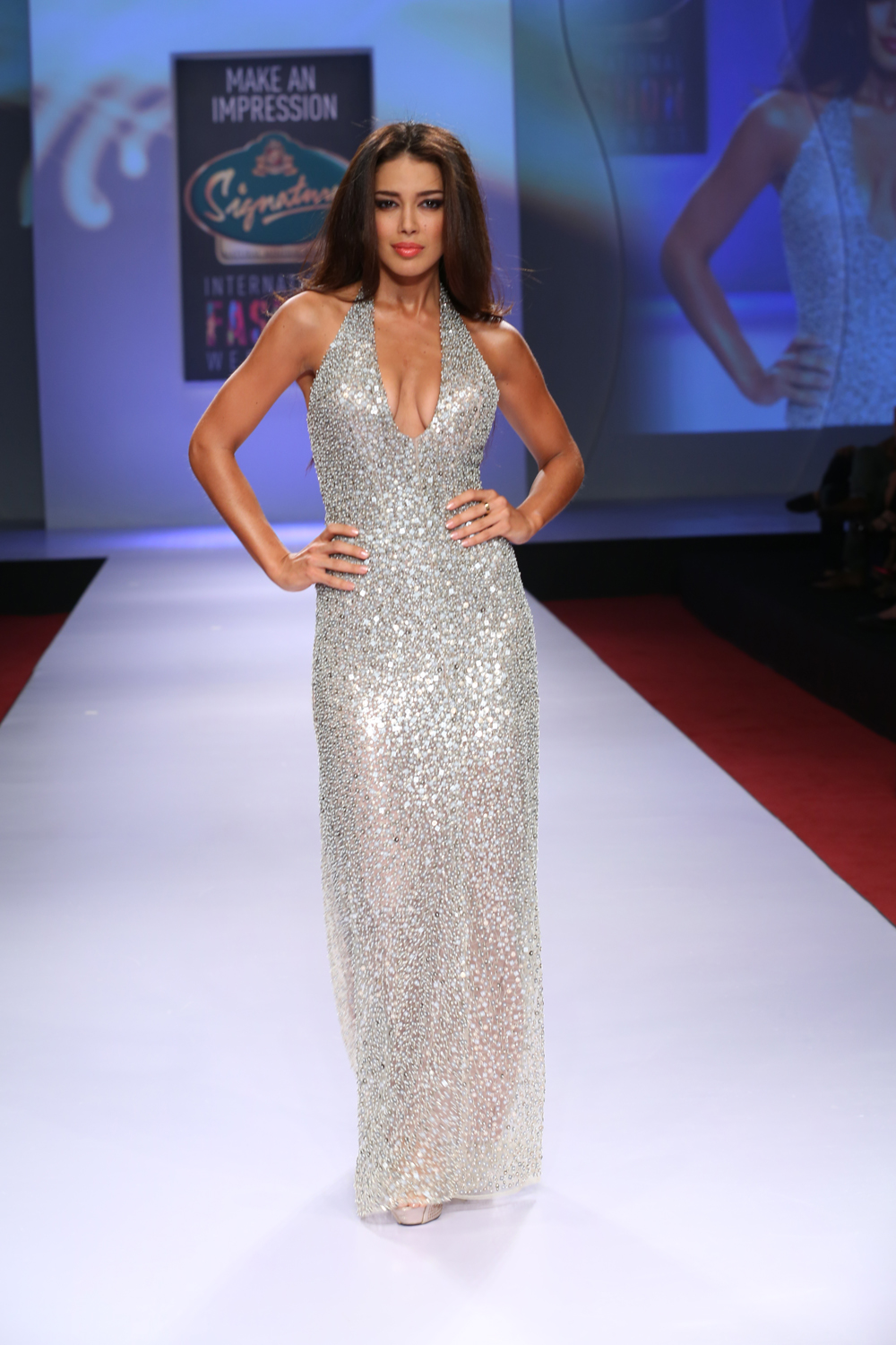 Miss Canada Universe 2012 Sahar Baniaz in a slinky sequined silver gown with a gravity defying neckline.