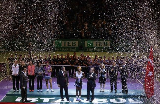 Williams of the U.S. celebrates her victory against Li of China after their WTA tennis championships final match in Istanbul
