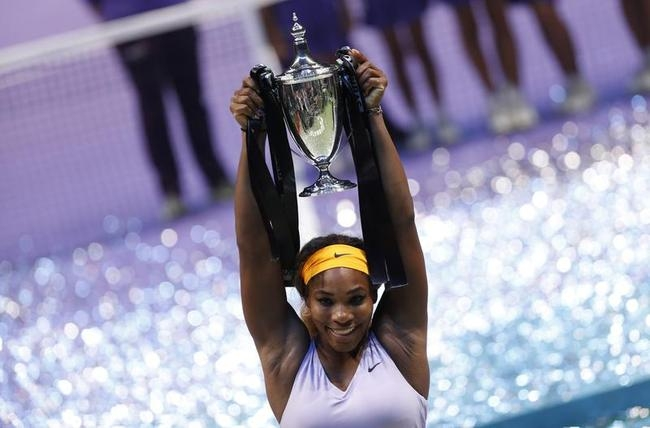 Williams of the U.S. celebrates her victory against Li of China during in their WTA tennis championships final match at Sinan Erdem Dome in Istanbul,