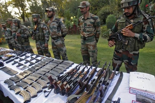 Arms and ammunition captured from suspected militants