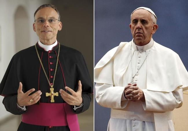 Combination photo of Bishop Franz-Peter Tebartz-van Elst and Pope Francis