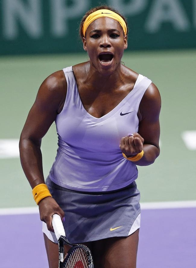 Williams of the U.S. reacts during her WTA tennis championships final match against Li of China, in Istanbul
