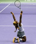 Williams of the U.S. celebrates her victory against Li of China during their WTA tennis championships final match at Sinan Erdem Dome in Istanbul