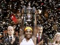 Williams of the U.S. celebrates her victory against Na of China after their WTA tennis championships final match