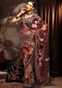 Multi coloured net sari