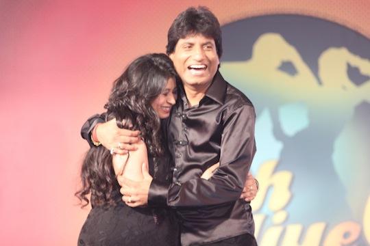The even more seasoned comedian Raju with his wife Shikha