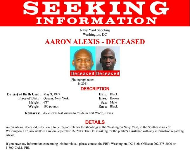 Handout of poster of Aaron Alexis, who the FBI believe to be responsible for the shootings at the Washington Navy Yard