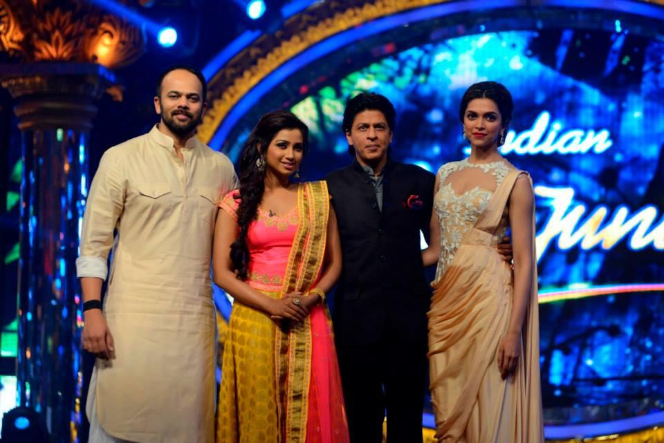 Shreya with the Chennai Express team: Rohit Shetty, SRK, Deepika Padukone