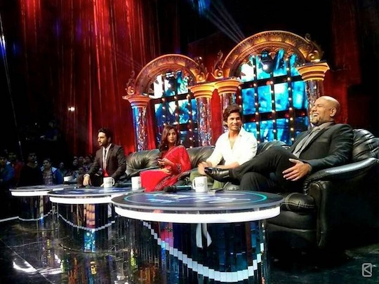 Shahid Kapoor with the Indian Idol judges