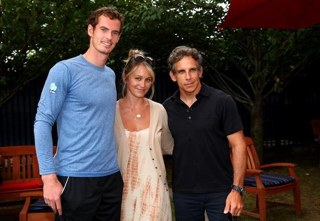 Andy Murray, Ben Stiller and Christine Taylor