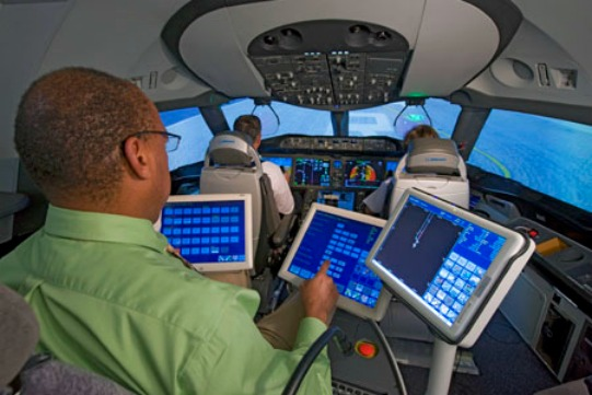 Interior of 787 Simulator