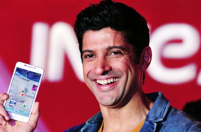 Image result for images of Farhan Akhtar and  their mobile phone