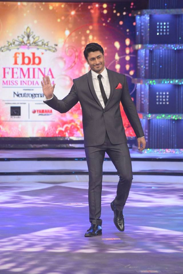Judge Vidyut Jamwval on stage at fbb Femina Miss India 2014.