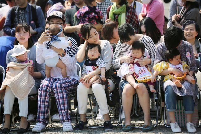 Cute Babies at Baby-cry Sumo Competition in Japan