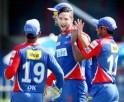 Wayne Parnell celebrates the wicket of Aditya Tare